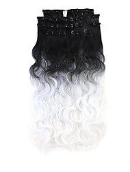 Neitsi 60cm 165g Curl Wavy Clip in on Hair Extension Ombre Synthetic Hair Weft 8Pcs/Set Colour Choose