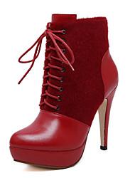 Mujer-Tacón StilettoBotas-Oficina y Trabajo Vestido-Cuero-Negro Rojo