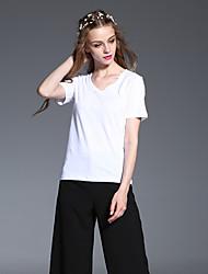 manga corta v cuello del verano t-shirtsolid algodón blanco casual / diaria simple de las mujeres frmz opaca