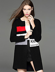 Damen Buchstabe Einfach Lässig/Alltäglich Mantel Langarm Schwarz Baumwolle / Polyester