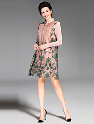 Women's Going out / Casual/Daily Vintage / Simple Sheath Dress,Embroidered Round Neck Above Knee Long Sleeve Pink / Black / Green Silk