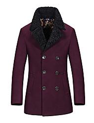 Heren Vintage / Eenvoudig / Street chic Herfst / Winter Jas,Grote maten Overhemdkraag-Lange mouw Blauw / Rood / Zwart Effen Dik Overige