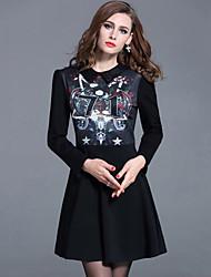 Women's Plus Size /Casual /Work Street chic Sheath Dress Print Shirt Collar Slim Thin Fashion Black Rayon /Nylon Fall