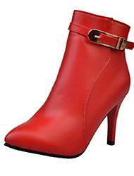 Damen-Stiefel-Lässig-PU-Kitten Heel-Absatz-Komfort-Schwarz Rot