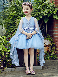 Ball Gown Short / Mini Flower Girl Dress - Lace Tulle V-neck with Lace Pleats