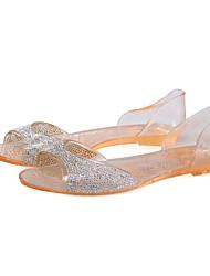 Feminino-Sandálias-Conforto-Rasteiro Heel translúcido-Branco Preto Champanhe-PVC-Casual