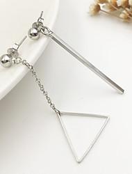 Women Fashion Sweet Asymmetrical Simple Metal Bars Triangle Drop Earrings