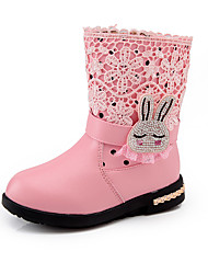 Kids Girl's Boots Spring / Fall / Winter Comfort / Ankle Strap Leather Outdoor / Casual Low Heel Zipper Pink / Black and Red