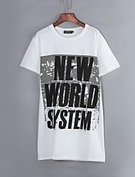 Tee-shirt Aux femmes,Imprimé / Lettre Décontracté / Quotidien Chic de Rue Eté Manches Courtes Col Arrondi Blanc Polyester Moyen