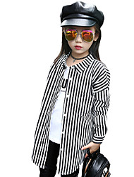 Girl's Casual/Daily Striped Shirt,Cotton / Spandex Spring / Fall Black