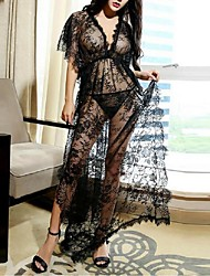 Women Chemises & Gowns Nightwear,Sexy Lace Solid-Thin Lace Black