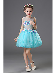 A-line Knee-length Flower Girl Dress - Chiffon Jewel with Appliques Pick Up Skirt