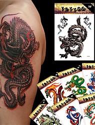 8 Tatuagens Adesivas Séries Animal / Séries Totem / Outros / Série dos desenhos animadosnão tóxica / Estampado / Tamanho Grande / Lombar