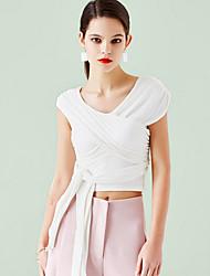 Damen Solide Einfach Ausgehen Bluse,V-Ausschnitt Sommer Ärmellos Weiß / Schwarz / Grau Modal Undurchsichtig
