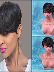 Ethereal Partial Fringe Black Short Hair Human Hair Wig
