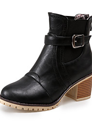 Women's Boots Winter Bootie Dress Chunky Heel Buckle / Split Joint Black / Gray / Almond Others