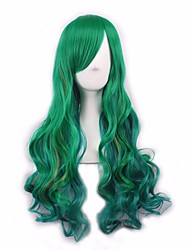Green Color Long Wave Hair Heat Resistant Hair Cheap Synthetic Wigs