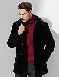 Masculino Casaco de Pelo Casual Simples Inverno,Sólido Preto Lã Colarinho Chinês-Manga Longa Grossa