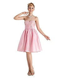 Knee-length Taffeta Bridesmaid Dress - Open Back A-line Sweetheart with Beading