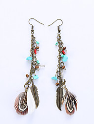 Europe And The United States Leaves Eardrop Fashion National Wind Feathers Long Earrings Retro Earrings