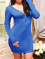 Women's Going out / Casual/Daily / Formal Sexy / Cute Sheath Dress,Solid V Neck Above Knee Long Sleeve Blue / Black PolyesterFall /