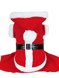 Собаки Костюмы / Плащи / Толстовки Красный Одежда для собак Зима Однотонный Милые / Косплей / Рождество