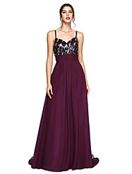 TS Couture Formal Evening Dress - Sparkle & Shine A-line Spaghetti Straps Sweep / Brush Train Chiffon with Ruching Sequins