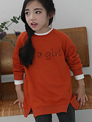Girl Casual/Daily Solid Dress,Cotton Fall Long Sleeve Long