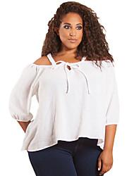Women's Plus Size Sleeved Off Shoulder Gauze Top