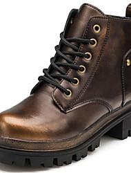 Damen-Stiefel-Büro / Lässig-Lackleder-Blockabsatz-Armeestiefel / Modische Stiefel-Gold