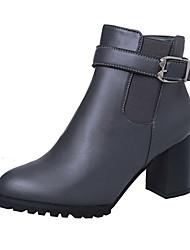 Черный Коричневый Серый-Женский-Для праздника Повседневный-Полиуретан-На толстом каблуке-Удобная обувь-Ботинки