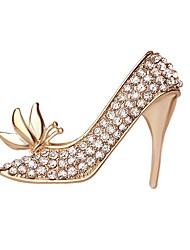 venta caliente de cristal brillante mariposa zapatos de tacón alto para las mujeres broche