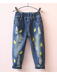 Girl's Casual/Daily Embroidered Dress / JeansCotton Spring / Fall Blue