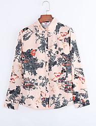Women's Wild Print Plus Size Long Sleeve Chiffon Shirt