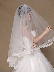 Wedding Veil Two-tier Fingertip Veils Lace Applique Edge Tulle
