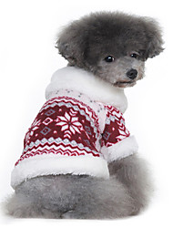 Dog Coat Sweater Red Black Dog Clothes Winter Spring/Fall Snowflake Classic Keep Warm