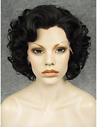 preta grande cabelo curto calor peruca imstyle 10natural encaracolado rendas frente sintética resistente para as mulheres negras