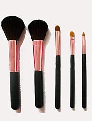 5 Makeup Brushes Set Goat Hair Portable Wood Face NFSS