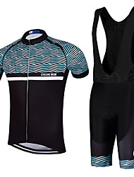 QKI Cycling Jersey with Bib Shorts Men's Short Sleeve BikeBreathable / Quick Dry / Anatomic Design / reflective stripe/5D coolmax gel pad