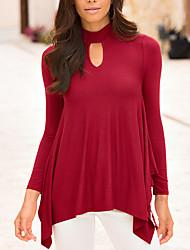 Damen Solide Retro Lässig/Alltäglich T-shirt,Rundhalsausschnitt Alle Saisons Langarm Rot / Schwarz Polyester Mittel