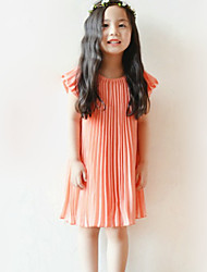 Girl's Going out Solid Dress,Polyester Summer Orange