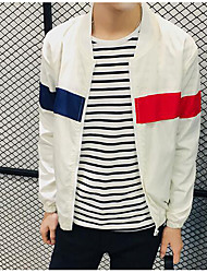 Men's Casual/Daily Simple Jackets,Color Block Stand Long Sleeve Fall White Cotton Medium