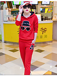Women's Casual/Daily Street chic Spring / Fall Set Pant Suits,Geometric Hooded Long Sleeve Red / White / Black / Purple Cotton Opaque