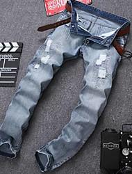 Mulheres Calças Simples Jeans / Chinos Algodão / Poliéster Com Stretch Mulheres