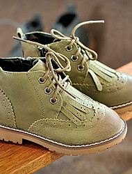 Girl's Boots Comfort Leather Casual Black Green Gray