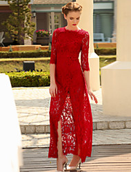 MASKED QUEEN  Women's Party/Cocktail Sophisticated Lace DressSolid Maxi  Sleeve Red Polyester Spring Mid Rise