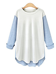 Tee-shirt Femme,Mosaïque Sortie / Décontracté / Quotidien Sexy / simple / Chic de Rue Printemps / Automne Manches Longues Col Arrondi