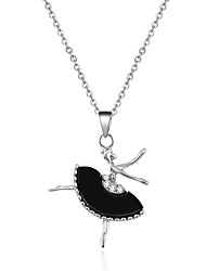 Lovely Silver Tone The Girl Dancing with Crystal Pendant Necklace