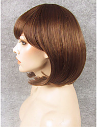 IMSTYLE10''Short Hair Brown Bob Synthetic Machine Wigs No Lace