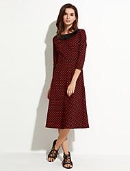 Damen Kleid - A-Linie Retro / Party Punkt Midi Baumwolle Rundhalsausschnitt / Schleife